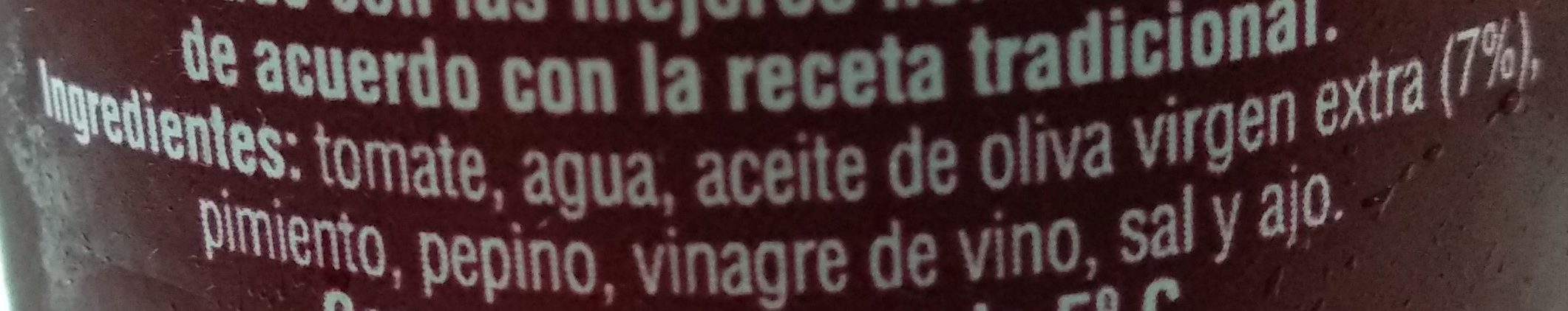 Gazpacho fresco con aceite de oliva virgen extra - Ingredientes
