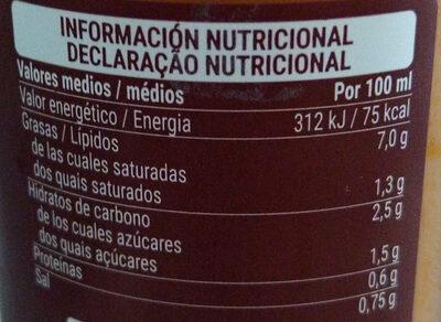 Gazpacho fresco con aceite de oliva virgen extra - Información nutricional