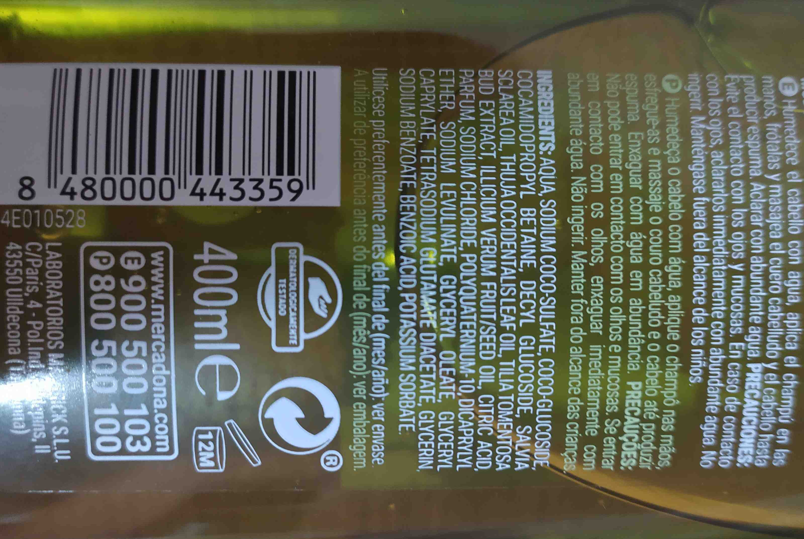 champu natural Mercadona - Ingredientes - en