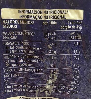 Muesli frutas - Información nutricional