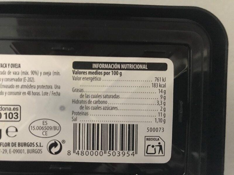 Queso Fresco Villalón - Informació nutricional