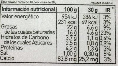 Queso Blanco Pasteurizado sabor Natural - Información nutricional