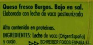 Queso fresco de Burgos - Ingredientes - es