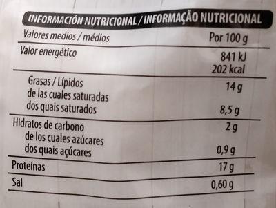 Mozzarella - Informació nutricional