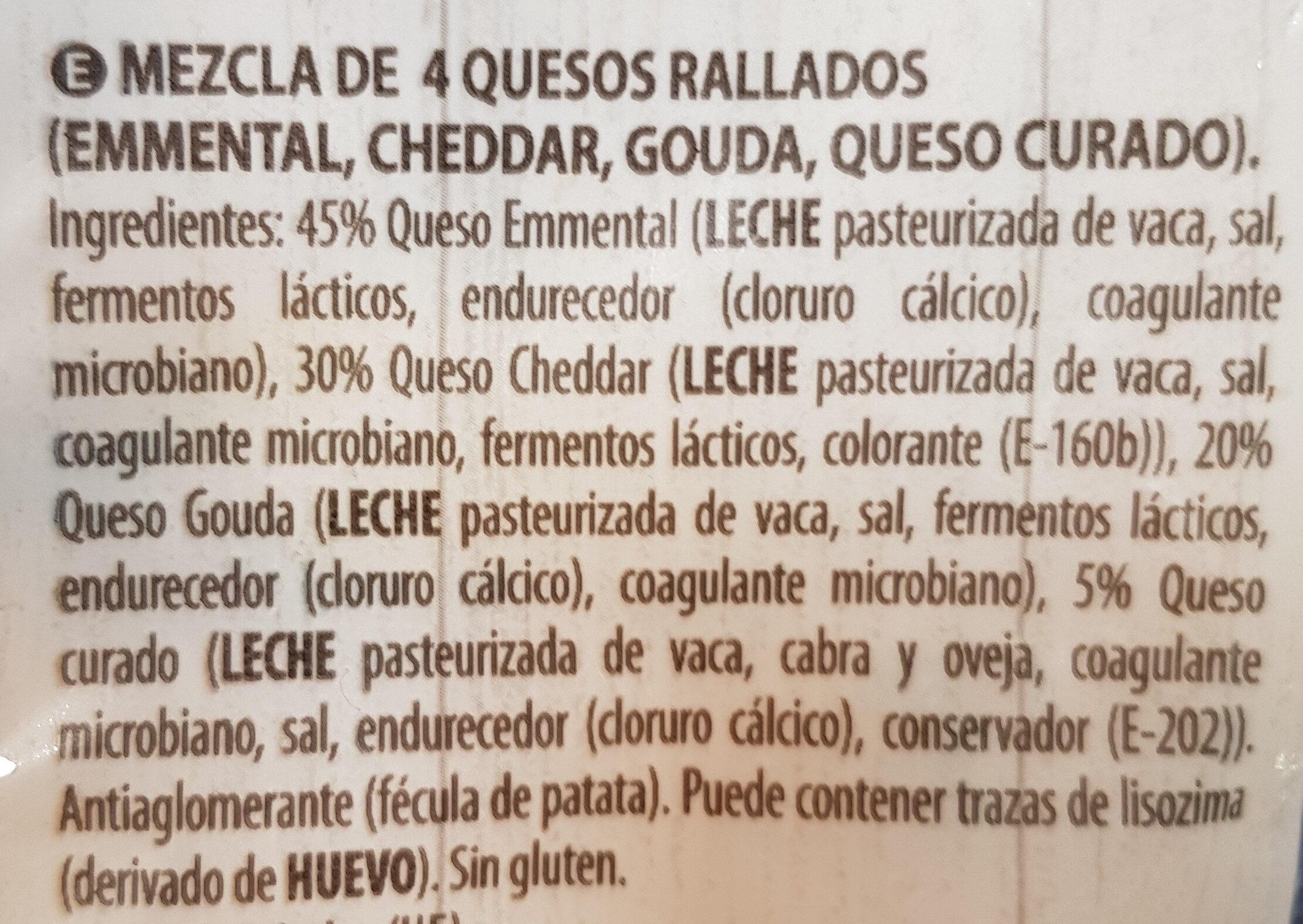 4 quesos - Ingredients - es