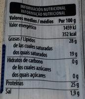 4 Quesos - Informació nutricional