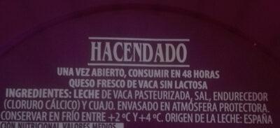 Queso fesco sin lactosa - Ingredientes - es