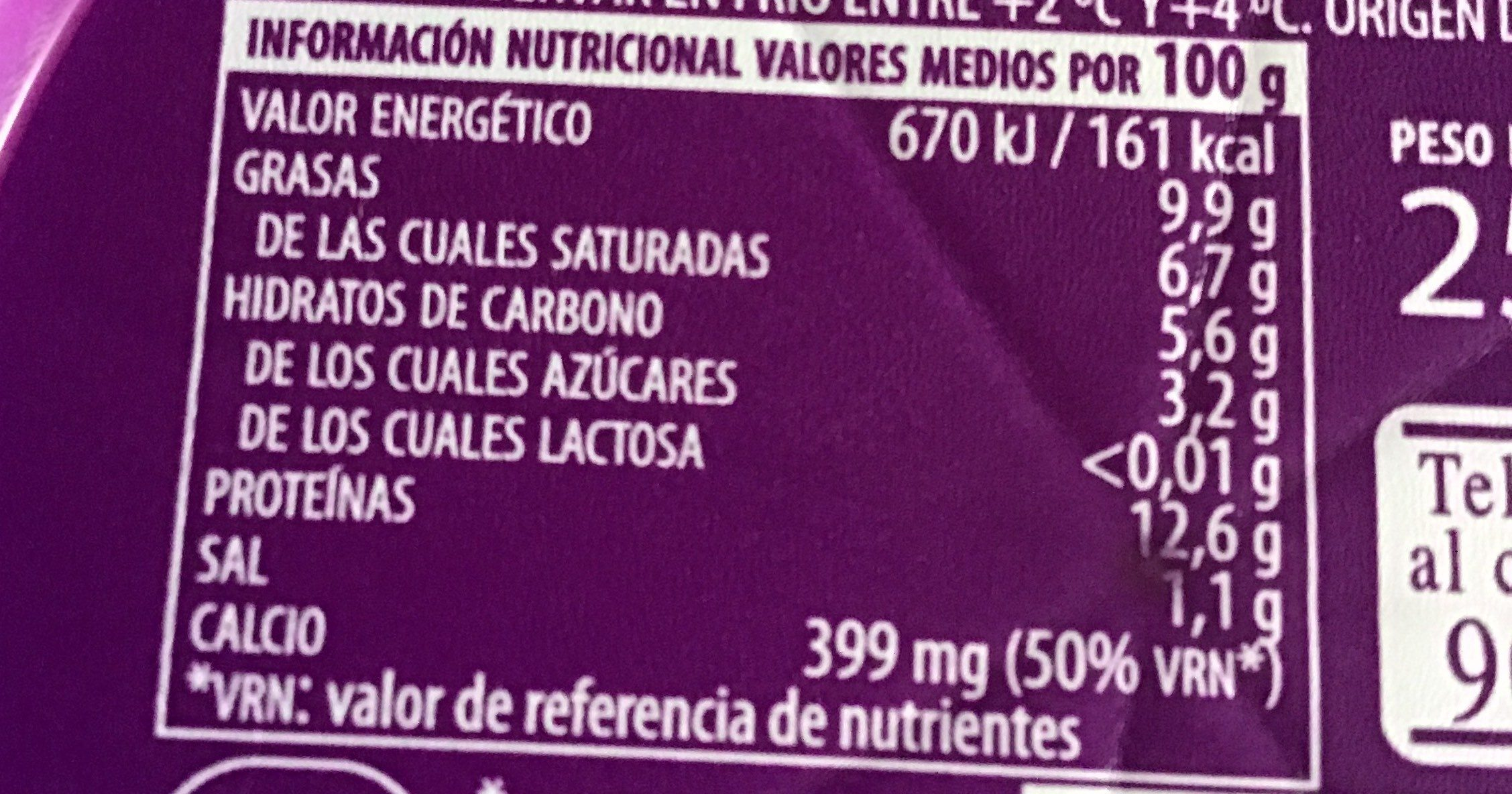 Queso fesco - Informació nutricional