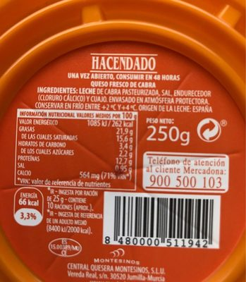 Quesco Fresco  Cabra - Ingredients