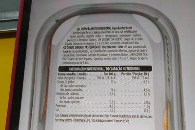 Queso crema suave - Ingredientes - es