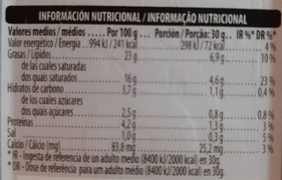 Queso crema suave - Información nutricional - es