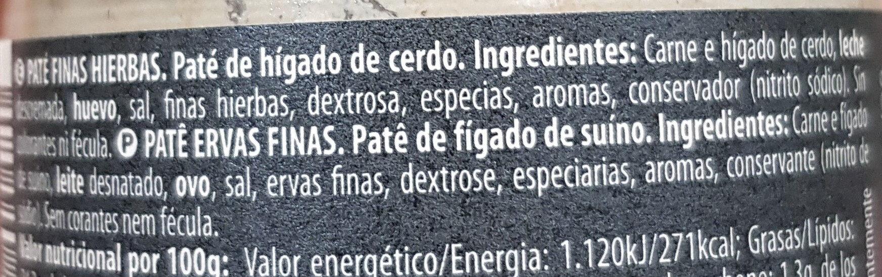 Finas Hierbas - Ingrédients - es