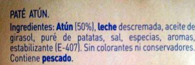 Pack paté de atún - Ingredientes