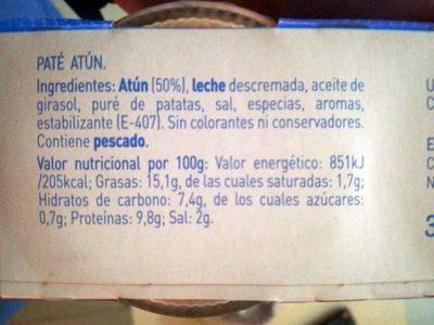 Pack paté de atún - Información nutricional
