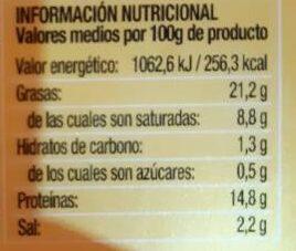 Estilo Viena con queso - Información nutricional