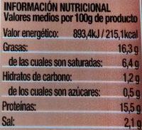 Salchicas cocidas estilo bratwurst - Información nutricional - es