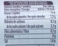 Salchichas veganas - Información nutricional