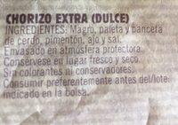 Chorizo Dulce Extra - Ingredients