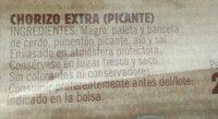 Chorizo picante - Ingredients