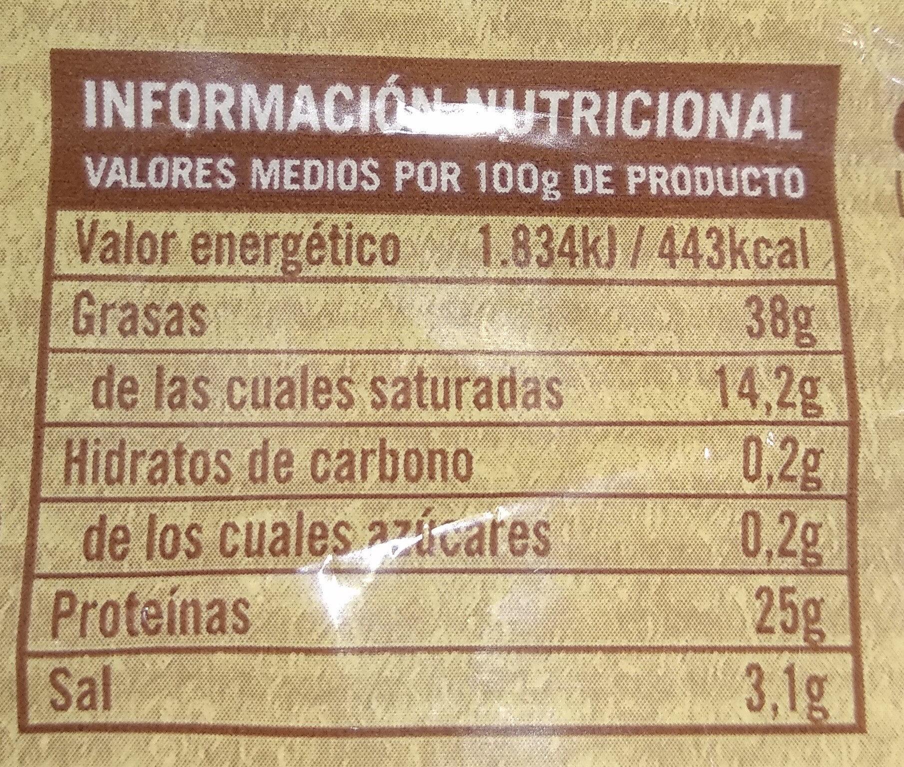Chorizo picante - Informació nutricional