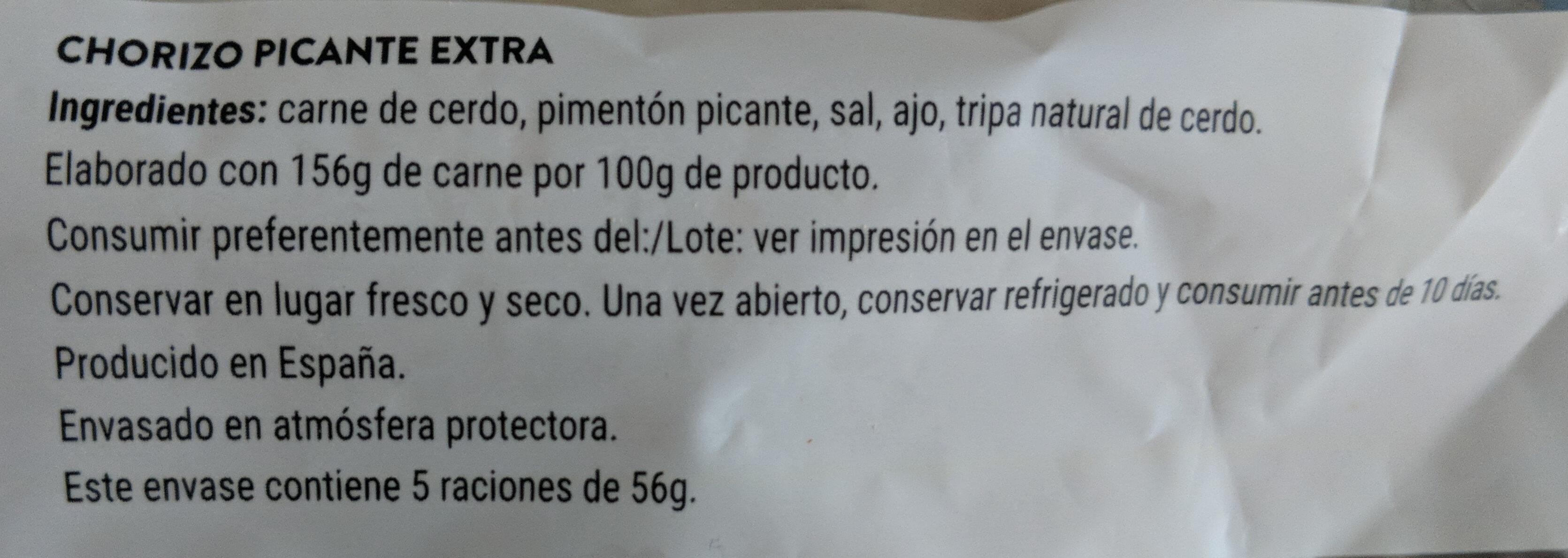 Chorizo picante extra - Ingredients - es