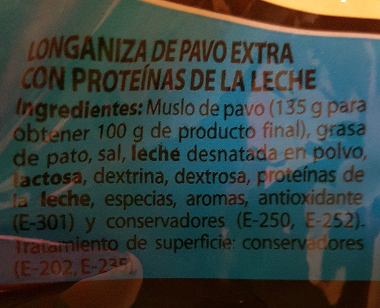 Longaniza de pavo - Ingredients
