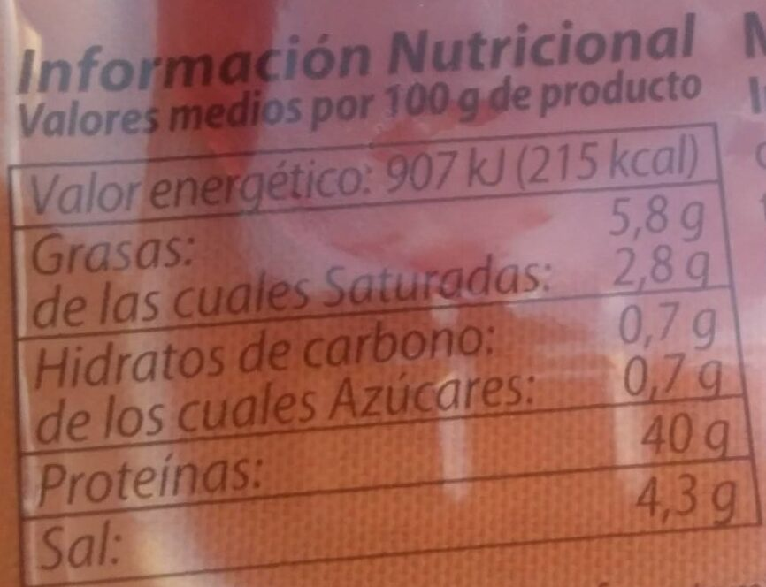 Lomo de pavo - Informació nutricional - es