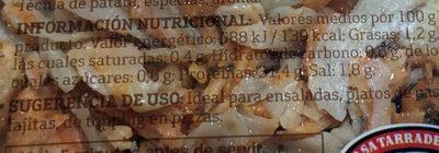 Tiras de pechuga de pollo - Informations nutritionnelles - es