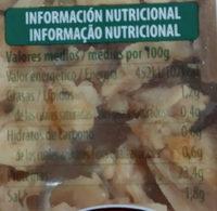 Tiras Pollo al natural - Información nutricional