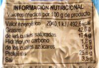 Mini salchichón ibérico extra - Voedingswaarden - es