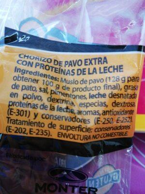 Chorizo de pavo - Ingredients - es