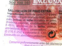 Salchichón extra de pavo - Ingredients - es