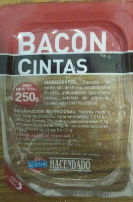 Bacon cintas - Ingrédients - fr