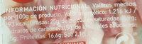 Bacon cintas - Informació nutricional - es