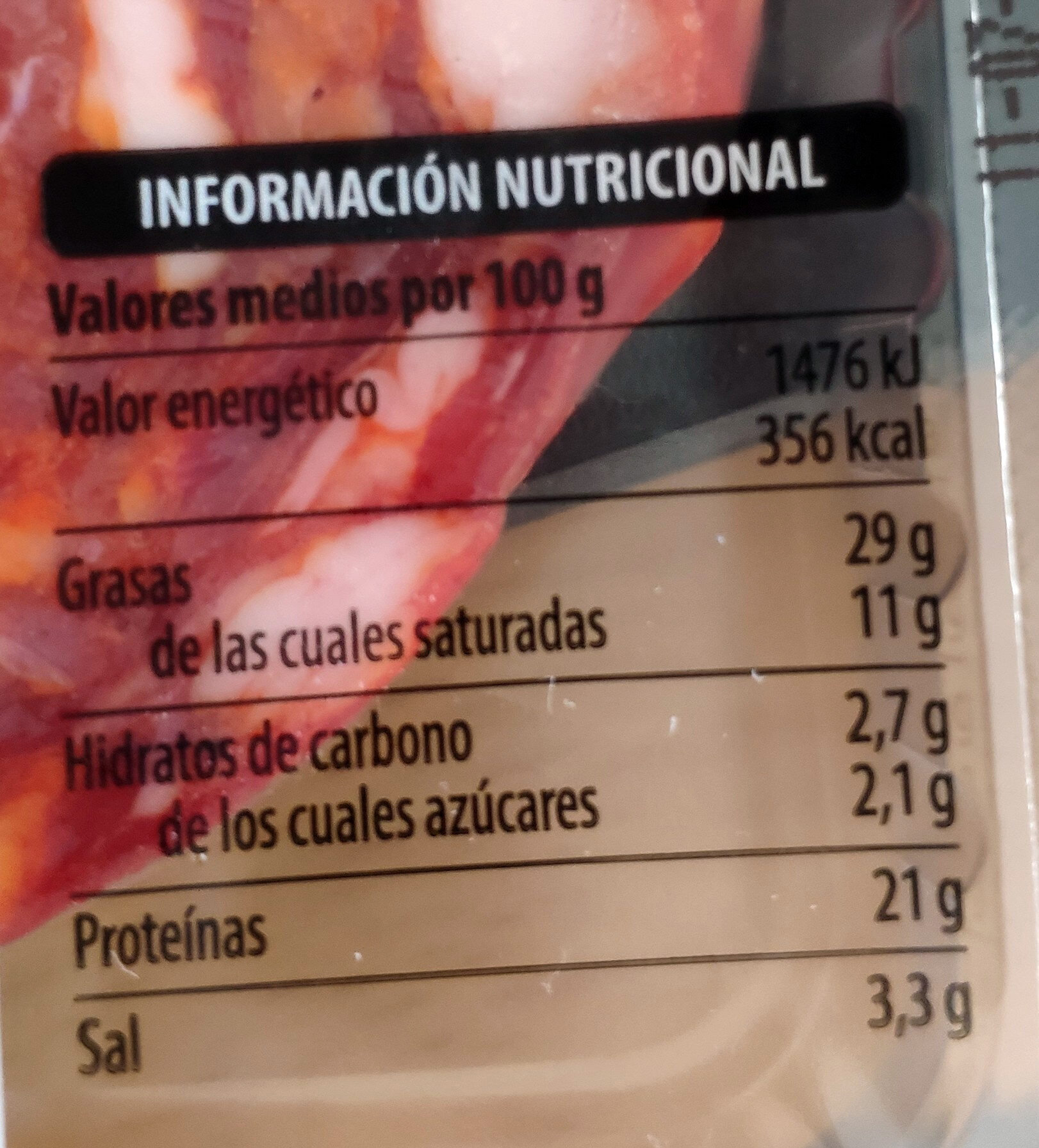 Chorizo extra - Informations nutritionnelles - es
