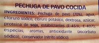 Pechuga de pavo - Ingredienti - es