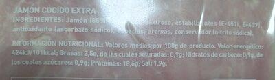 Jamón extra sandwich - Informations nutritionnelles - es
