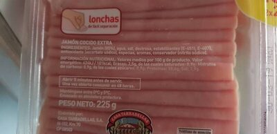 Jamón cocido extra finas lonchas - Ingredients