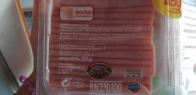 Jamón cocido extra finas lonchas - Información nutricional