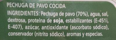 Pechuga de pavo al corte - Ingrediënten - es