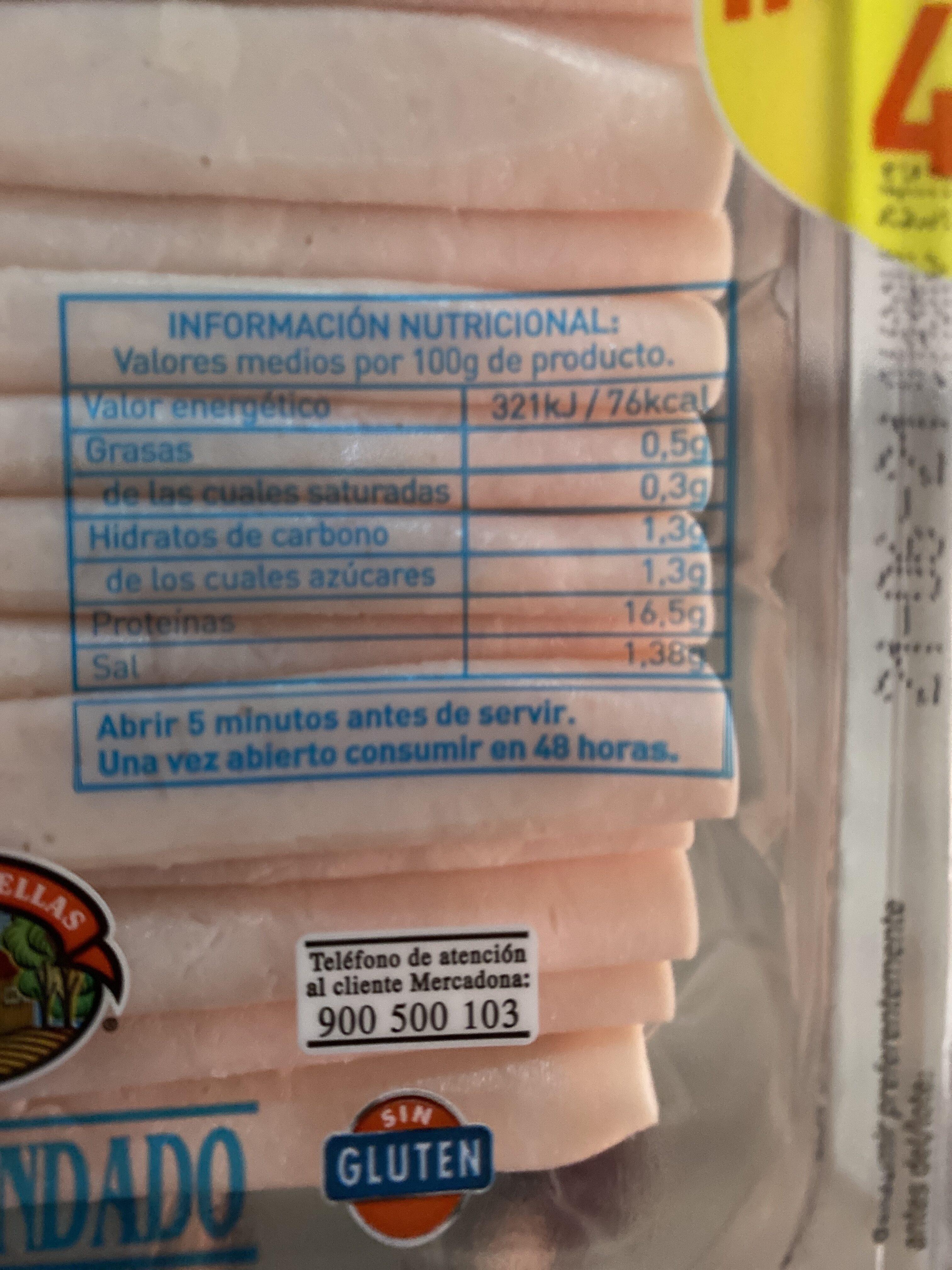 Pechuga pavo finas lonchas reducido de sal - Nutrition facts - en