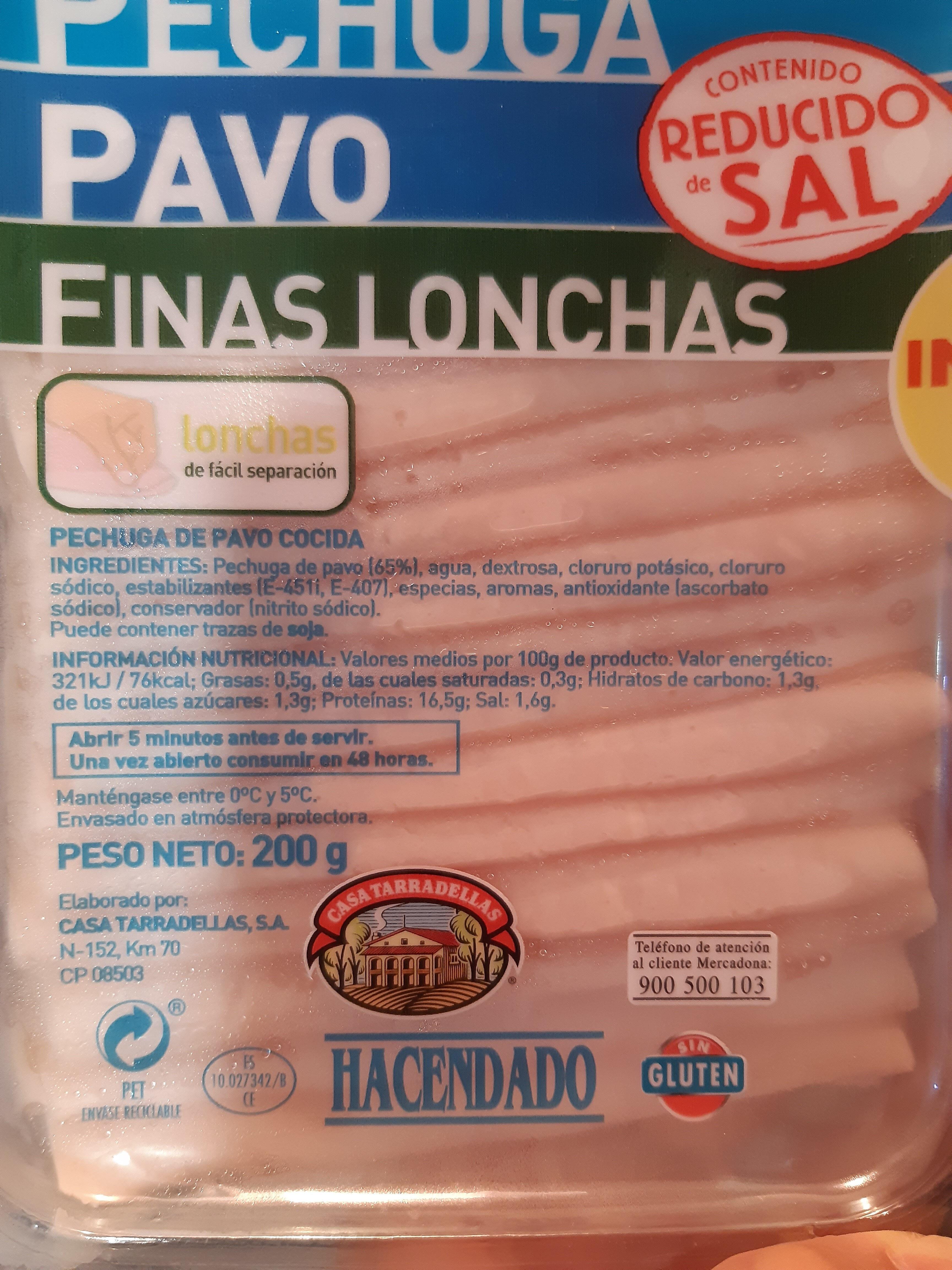 Pechuga pavo finas lonchas reducido de sal - Nutrition facts - es