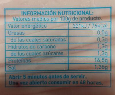 Pechuga pavo finas lonchas reducido de sal - Valori nutrizionali - es