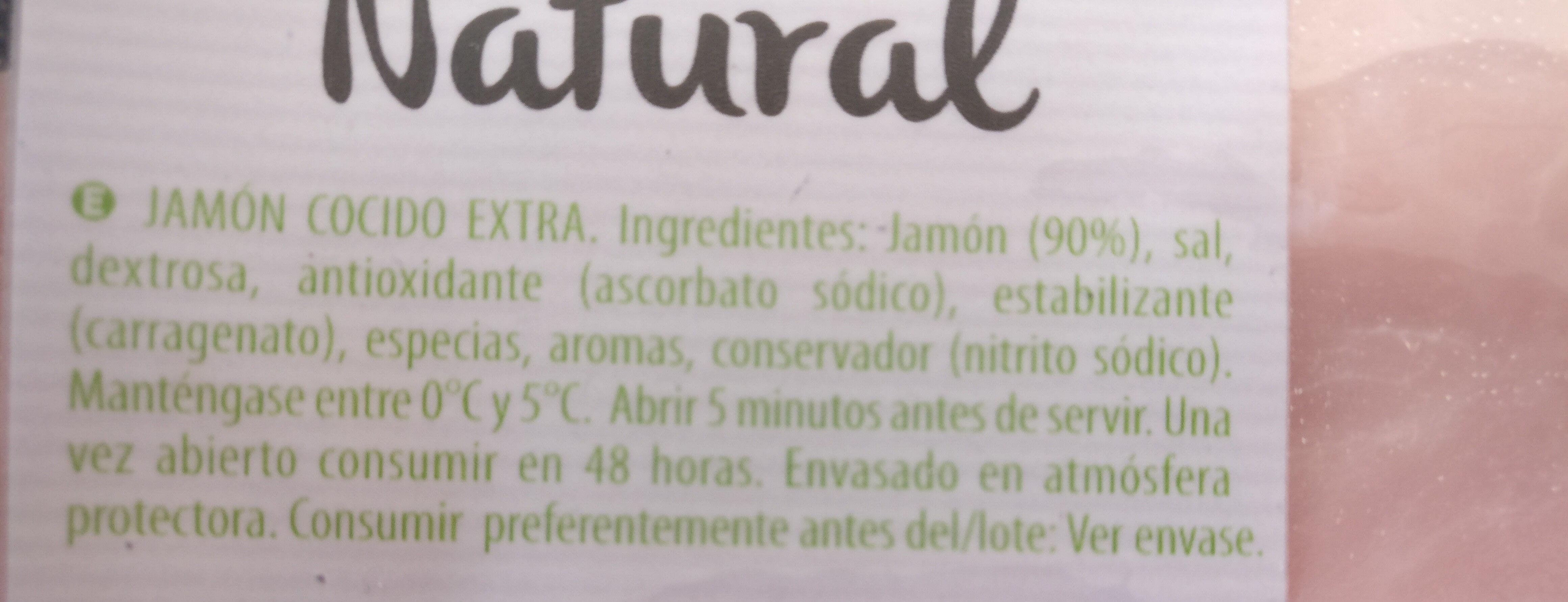 Jamón cocido fiambre natural - Ingredientes