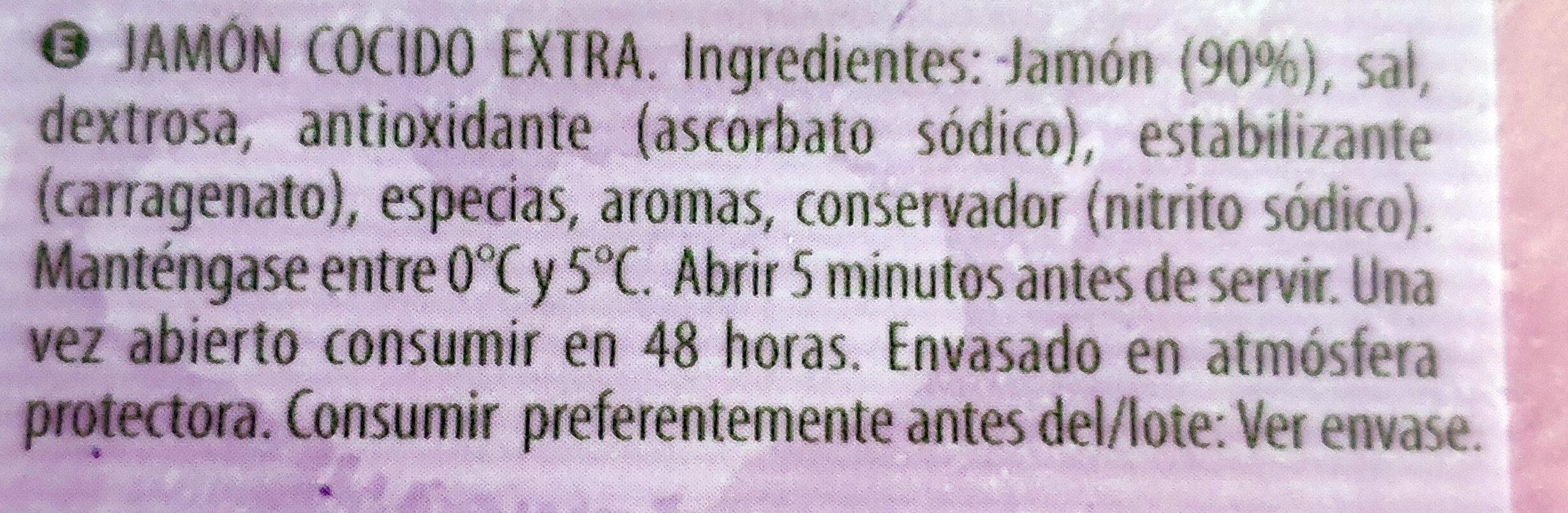 Jamón cocido natural - Ingrediënten - es