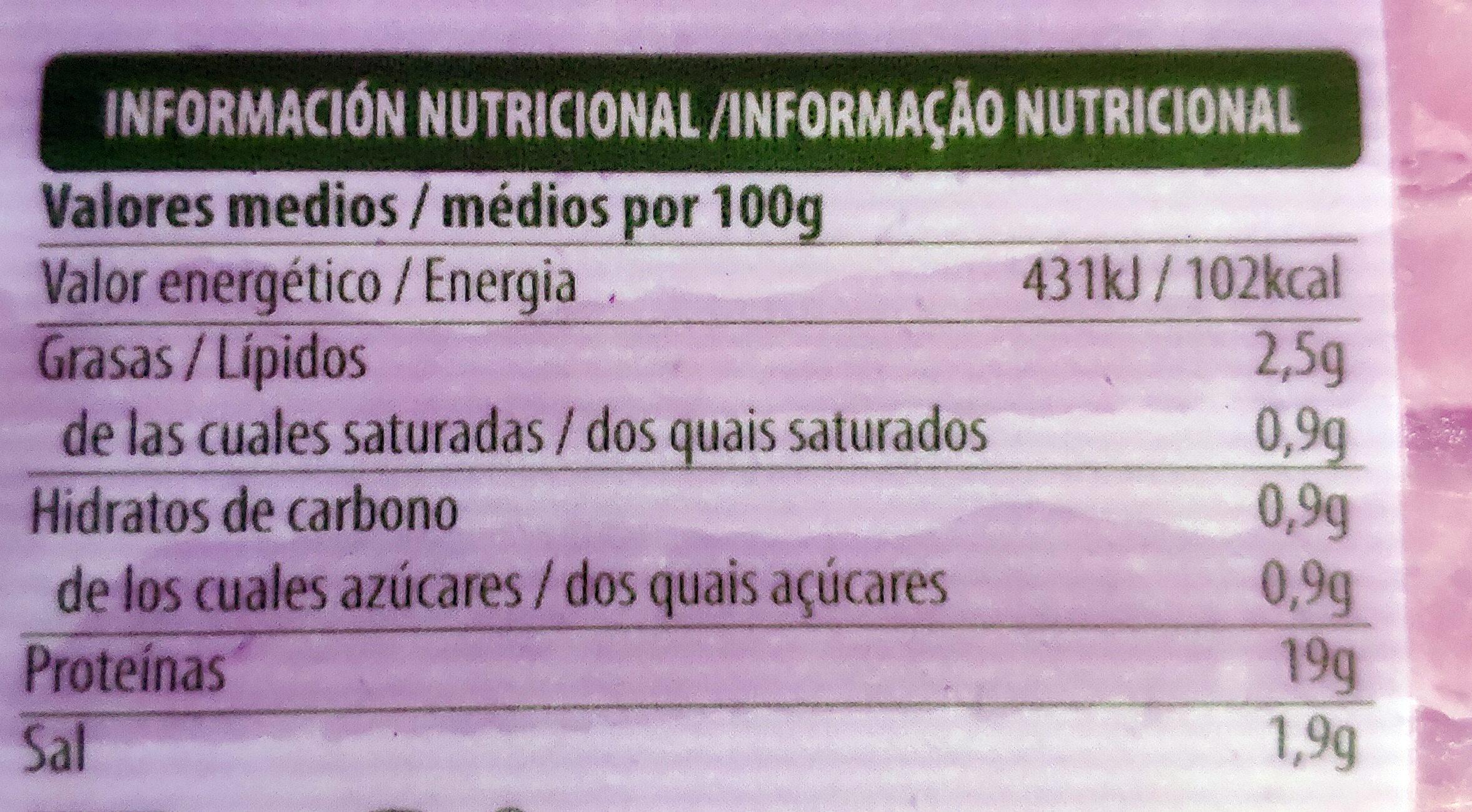 Jamón cocido natural - Voedingswaarden - es