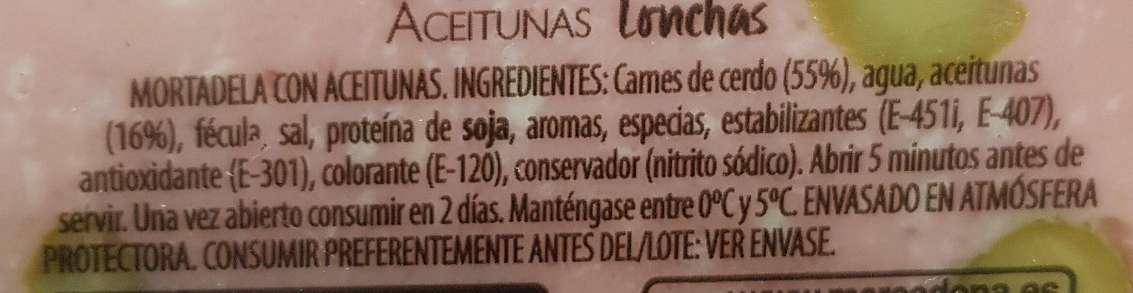 Mortadela con aceitunas - Ingredientes - es