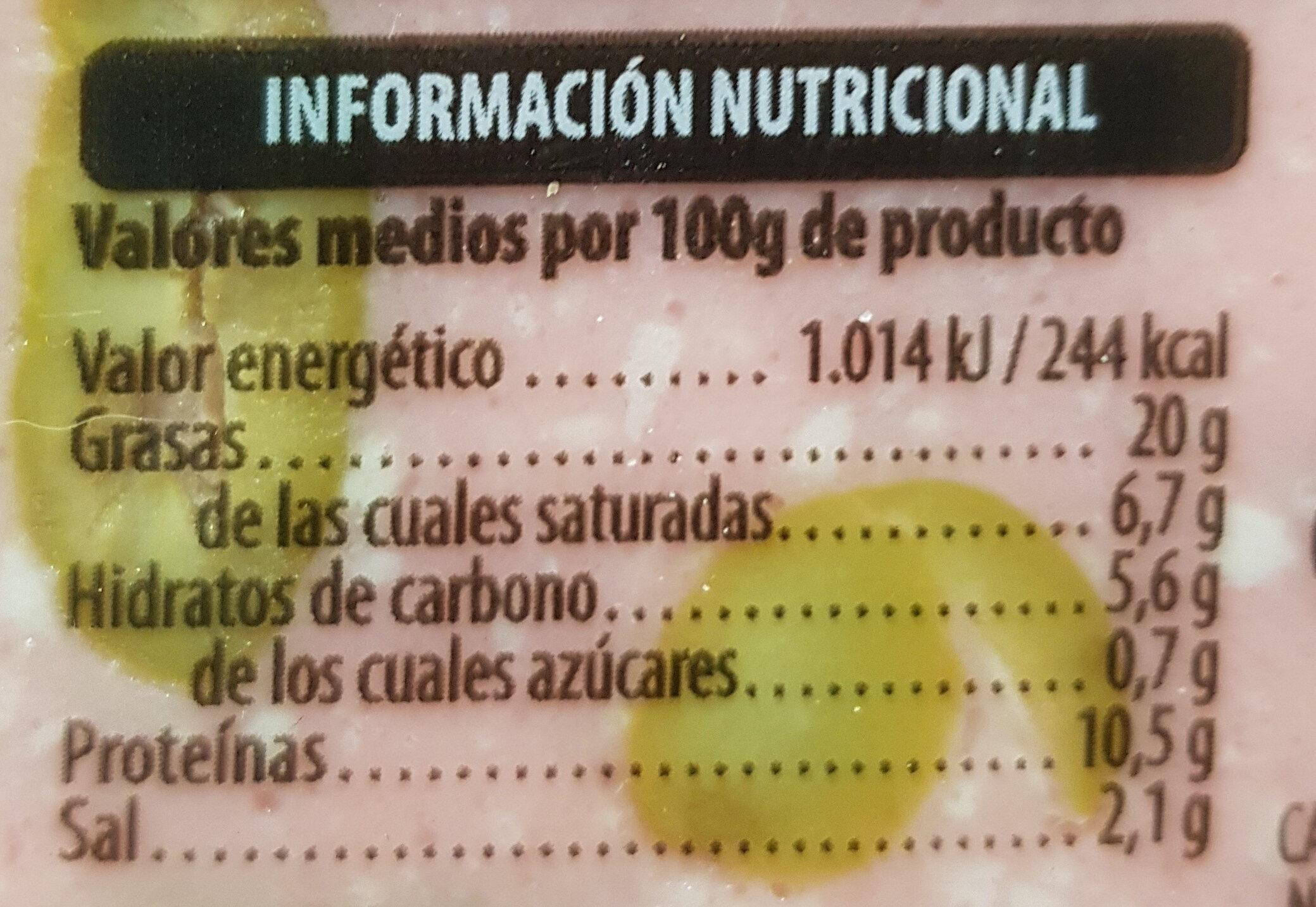 Mortadela con aceitunas - Información nutricional