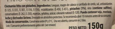 Chicharron frito con pistachos - Ingrediënten - es