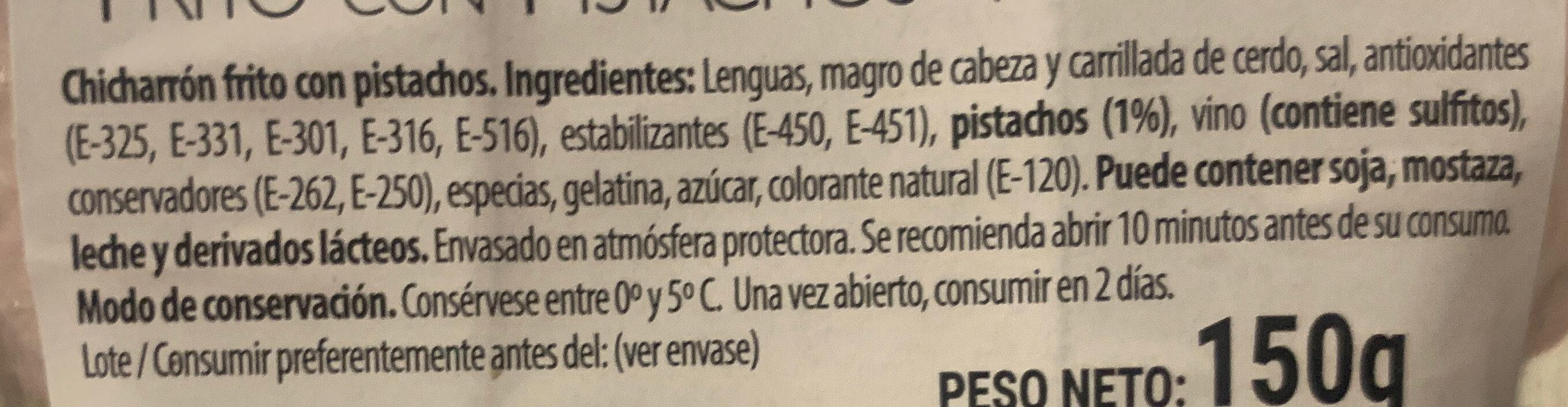 Chicharron frito con pistachos - Ingredientes